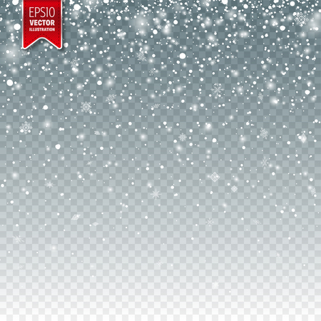Illustration for Snow with snowflakes. Winter background for Christmas or New Year holidays. Falling snow effect illustration. - Royalty Free Image