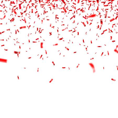 Illustration pour Christmas, Valentine s day red confetti on transparent background. Falling shiny confetti glitters. - image libre de droit
