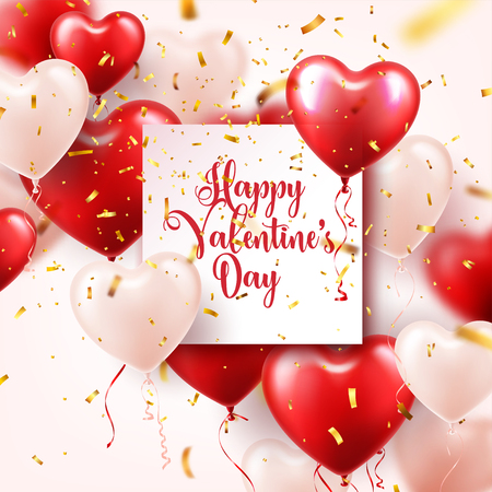 Illustration pour Valentine's  day abstract background with red 3d heart shaped balloons and golden confetti. - image libre de droit