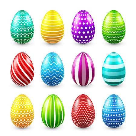 Illustration pour Easter eggs colored set. Spring. Holidays in April. Gift. Seasonal celebration.Egg hunt. Sunday. - image libre de droit