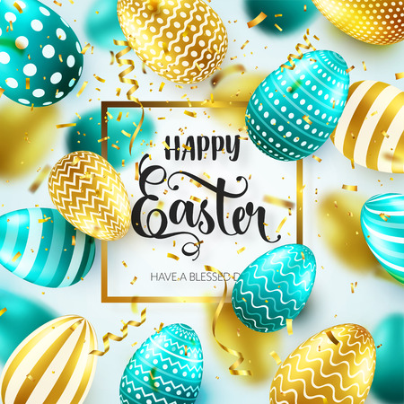 Ilustración de Easter golden egg with calligraphic lettering, greetings. Confetti and ribbon.Traditional spring holidays in April or March. Sunday. Eggs and gold. - Imagen libre de derechos