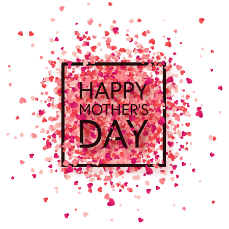 Illustration pour Mothers day background with red hearts. Greeting card, template with lettering. - image libre de droit