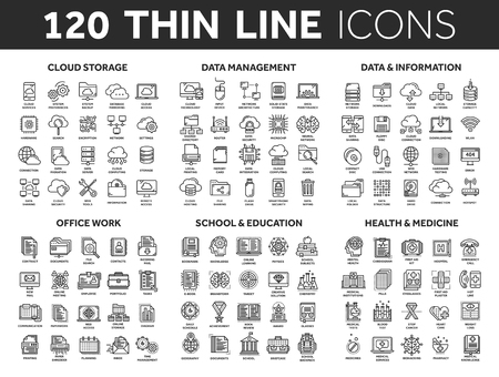 Illustration pour Cloud storage. Data management. Computing. Information. Internet connection. Office work. School and education. Medicine. Thin line black icons set. Stroke. - image libre de droit