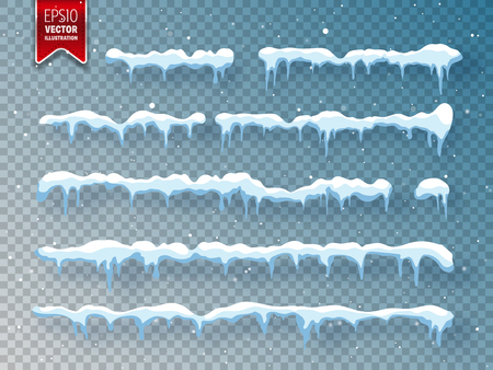 Ilustración de Snow, ice cap with shadow. Snowfall and snowflakes. Winter season. Transparent background. Christmas and New Year time. - Imagen libre de derechos
