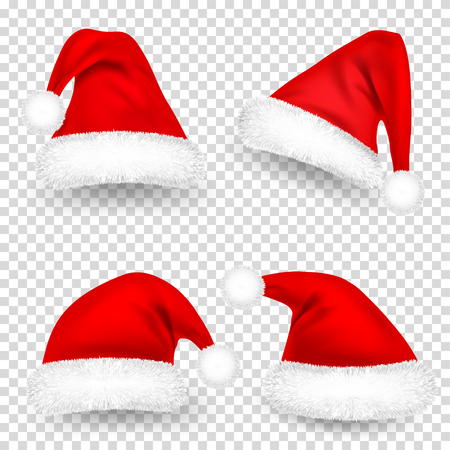Illustration for Christmas Santa Claus Hats With Fur and Shadow Set. New Year Red Hat Isolated on Transparent Background. Winter Cap. Vector illustration. - Royalty Free Image