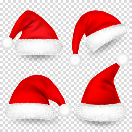 Photo for Christmas Santa Claus Hats With Fur and Shadow Set. New Year Red Hat Isolated on Transparent Background. Winter Cap. Vector illustration. - Royalty Free Image