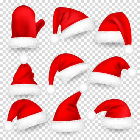 Photo for Christmas Santa Claus Hats With Fur Set, Mitten. Xmas, New Year Red Hat With Shadow. Vector illustration - Royalty Free Image