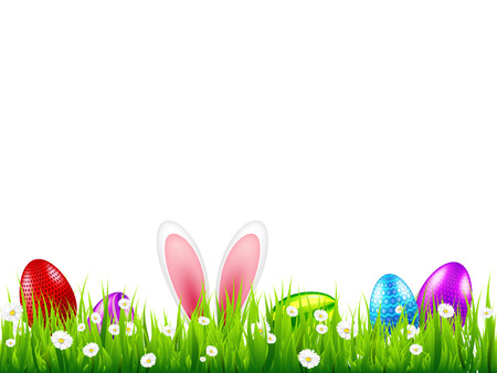 Ilustración de Easter eggs on grass with bunny rabbit ears set. Spring holidays in April. Sunday seasonal celebration with egg hunt - Imagen libre de derechos