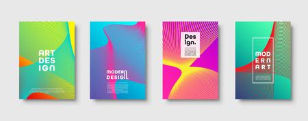 Illustration pour Modern minimal colorful abstract vector background, lines and geometric shapes design. Neon UFO green,proton purple,plastic pink halftone gradient color - image libre de droit