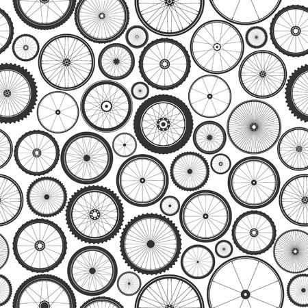 Ilustración de Bicycle wheel seamless pattern. Bike rubber mountain tyre, valve. Fitness cycle, mtb, mountainbike. Vector illustration - Imagen libre de derechos