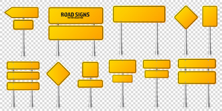 Illustration pour Road yellow traffic signs set. Blank board with place for text. Mockup. Isolated information sign. Direction. Vector illustration - image libre de droit