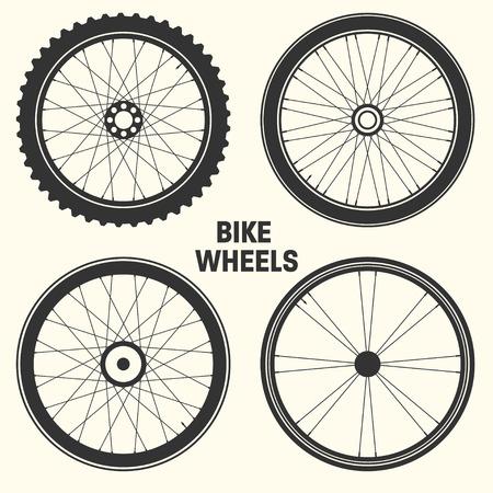 Ilustración de Bicycle wheel symbol vector illustration. Bike rubber mountain tyre, valve. Fitness cycle, mtb, mountainbike - Imagen libre de derechos