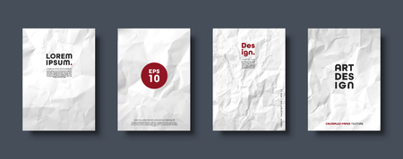 Ilustración de Crumpled white paper texture pattern. Minimal covers set. Rough grunge old blank. Vector abstract background. - Imagen libre de derechos