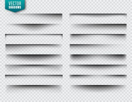 Illustration pour Vector shadows set. Page dividers on transparent - image libre de droit