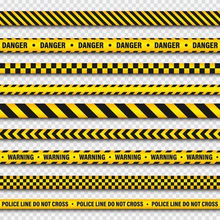 Ilustración de Yellow And Black Barricade Construction Tape On Transparent Background. Police Warning Line. Brightly Colored Danger or Hazard Stripe. Vector illustration. - Imagen libre de derechos