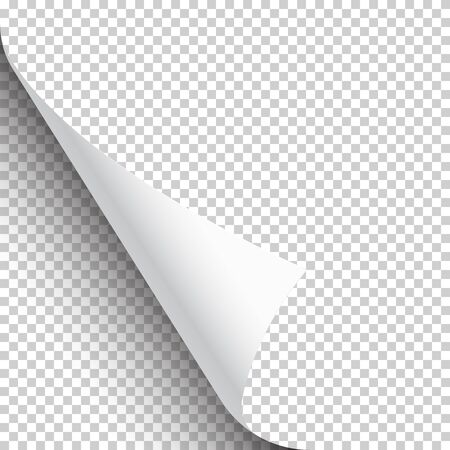 Illustration for Curled page corner with shadow on transparent background. Blank sheet of paper. Vector illustration - Royalty Free Image