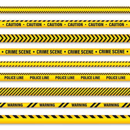 Ilustración de Yellow And Black Barricade Construction Tape. Police Warning Line. Brightly Colored Danger or Hazard Stripe. Vector illustration. - Imagen libre de derechos