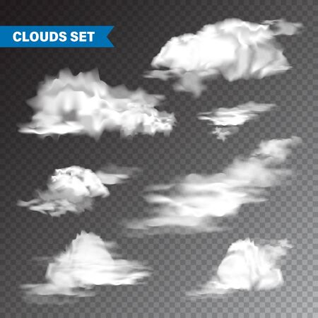 Illustration for Realistic Clouds Set. Isolated Cloud on Transparent Background. Sky Panorama. Vector Design Element - Royalty Free Image