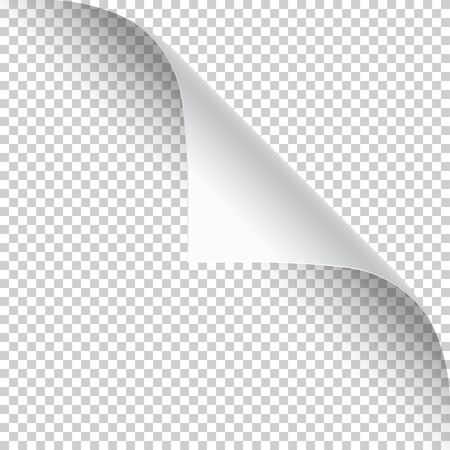 Illustration pour Curled page corner with shadow on transparent background. Blank sheet of paper. Vector illustration - image libre de droit