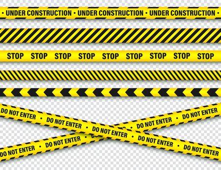 Ilustración de Yellow And Black Barricade Construction Tape. Police Warning Line. - Imagen libre de derechos