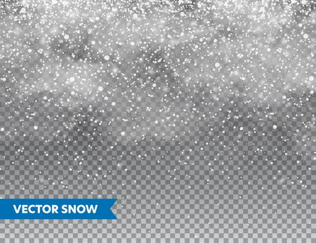Illustration for Realistic falling snow with snowflakes and clouds. Winter transparent background for Christmas or New Year card. Frost storm effect, snowfall, ice. Vector illustration - Royalty Free Image
