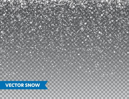 Illustration for Realistic falling snow with snowflakes. Winter transparent background for Christmas or New Year card. Frost storm effect, snowfall, ice. Vector illustration - Royalty Free Image