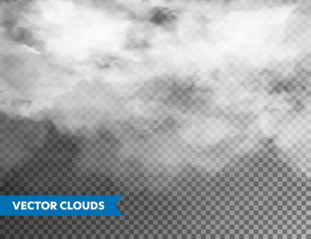 Illustration for Realistic Clouds. Isolated Cloud on Transparent Background. Sky Panorama. Vector Design Element - Royalty Free Image