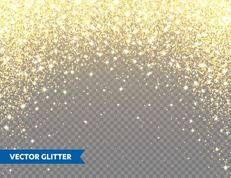 Ilustración de Sparkling Golden Glitter on Transparent Vector Background. Falling Shiny Confetti with Gold Shards. Shining Light Effect for Christmas or New Year Greeting Card - Imagen libre de derechos