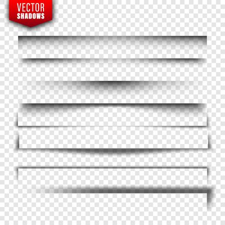 Illustration pour Vector shadows set. Page dividers on transparent background. Realistic isolated shadow. Vector illustration - image libre de droit