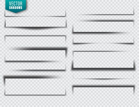 Illustration pour Vector shadows set. Page dividers on transparent background. Realistic isolated shadow. Vector illustration. - image libre de droit