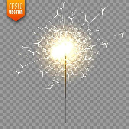 Illustration for Realistic Christmas sparkler on transparent background. Bengal fire effect. Festive bright fireworks with sparks. New Year decoration. Burning sparkling candle. Vector illustration. - Royalty Free Image