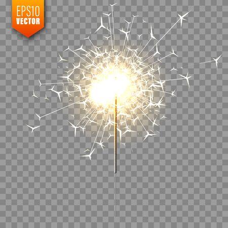 Ilustración de Realistic Christmas sparkler on transparent background. Bengal fire effect. Festive bright fireworks with sparks. New Year decoration. Burning sparkling candle. Vector illustration. - Imagen libre de derechos