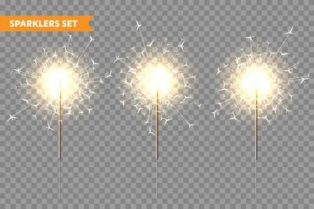 Illustration for Realistic Christmas sparkler collection on transparent background. Bengal fire effect. Festive bright fireworks with sparks. New Year decoration. Burning sparkling candle. Vector illustration. - Royalty Free Image
