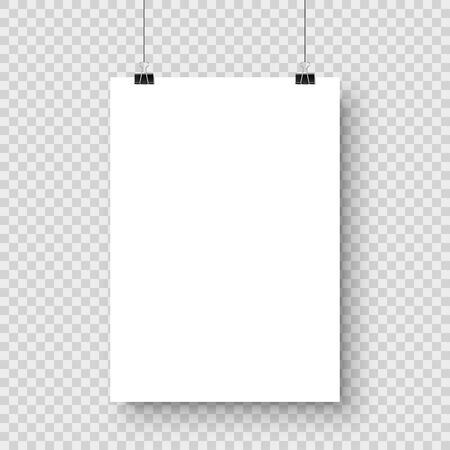 Illustration pour Realistic hanging blank paper sheet with shadow in A4 format and black paper clip, binder on checkered background. Design poster, template or mockup. Vector illustration. - image libre de droit