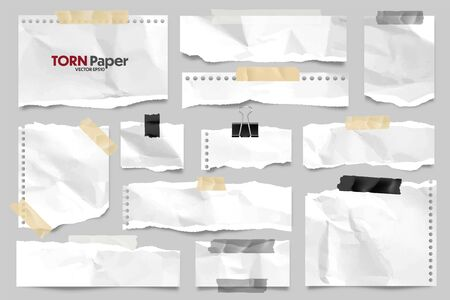 Illustration pour White ripped crumpled paper strips collection. Realistic paper scraps with torn edges and adhesive tape. Sticky notes, shreds of notebook pages. Vector illustration. - image libre de droit