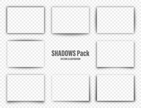 Illustration pour Vector shadows set. Page dividers on transparent background. Realistic isolated shadow for paper in A4 format. Vector illustration - image libre de droit