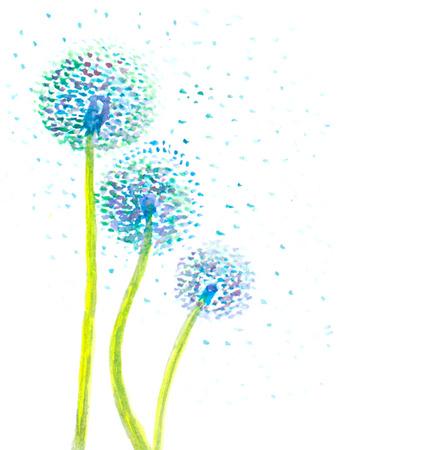 Illustration pour watercolor dandelion abstract background - image libre de droit