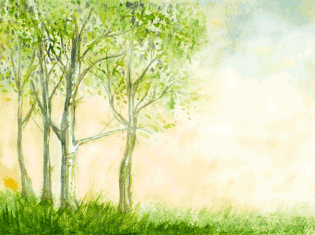 Illustration pour birch trees watercolor illustration - image libre de droit