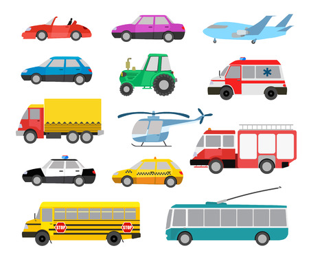 Foto per set of cartoon cute cars and vehicles. vector illustration - Immagine Royalty Free