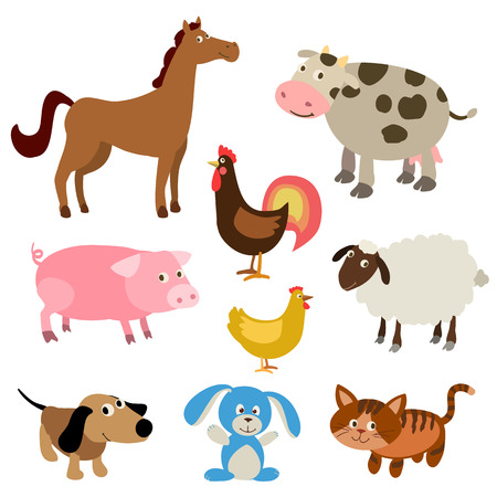 Photo pour set of cute cartoon farm animals. vector illustration - image libre de droit