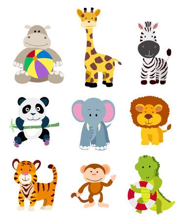 Foto de set of vector jungle cartoon animals - Imagen libre de derechos