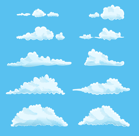 Illustration pour set of cartoon clouds on blue. - image libre de droit
