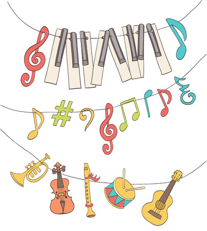 Illustration pour cute musical signs, notes, piano keys, children instruments hanged on a bunting. cartoon vector - image libre de droit