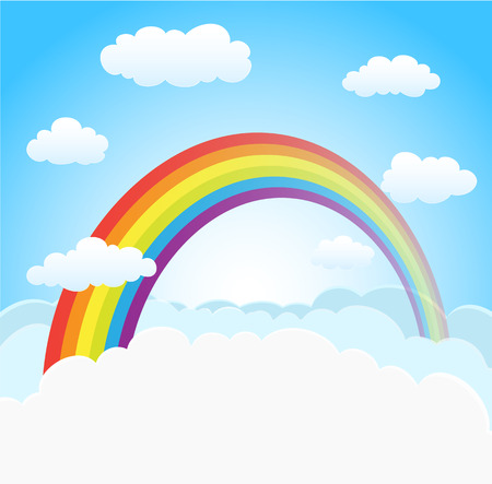 Illustration pour cartoon sky background with rainbow and clouds. vector - image libre de droit