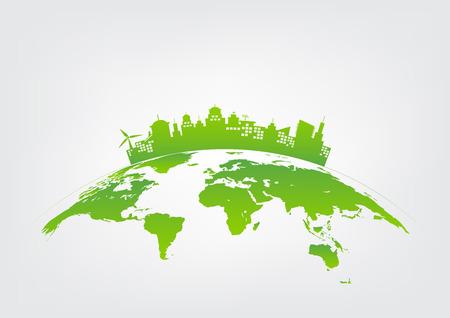 Ilustración de Sustainable development and green city concept, world environment, vector illustration  - Imagen libre de derechos