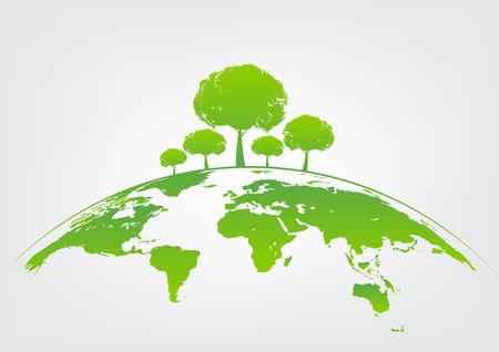 Ilustración de Green tree on earth for ecology friendly concept and World environment and sustainable development concept, vector illustration - Imagen libre de derechos