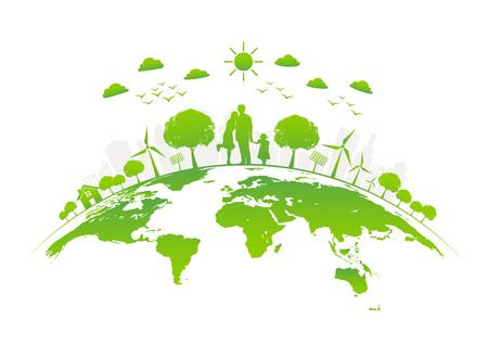 Ilustración de Eco friendly with green city on earth, World environment day and sustainable development concept, vector illustration - Imagen libre de derechos