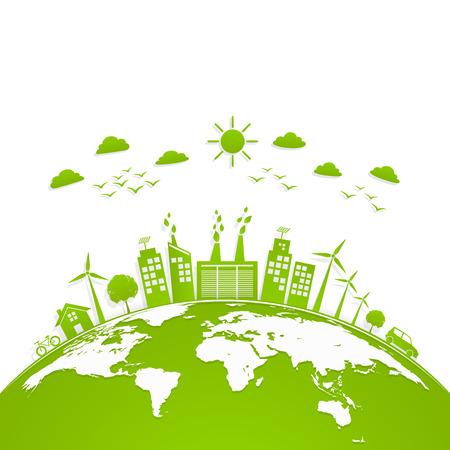 Ilustración de Ecology concept with green city on earth, World environment and sustainable development concept, vector illustration - Imagen libre de derechos