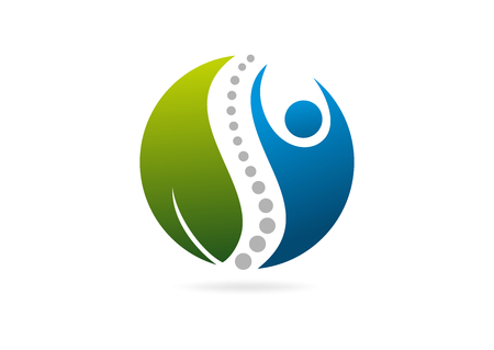 Ilustración de natural human body  spinal vector logo  design - Imagen libre de derechos