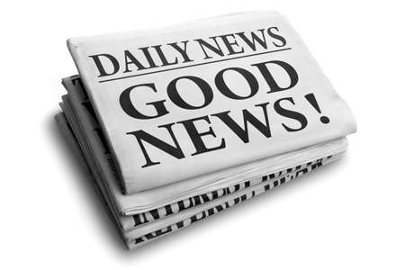 Photo for Daily news newspaper headline reading good news - Royalty Free Image